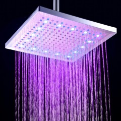 BRELONG LED Shower Head Felt Warm Three-olor Squar RGB