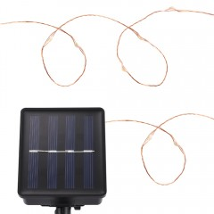 Solar Powered Waterproof 100 LEDs Copper String La COOL WHITE LIGHT