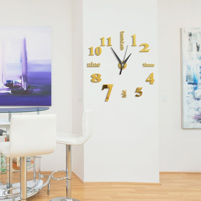 diy digit acrylic mirror wall clock stickers home golden @ kilimall