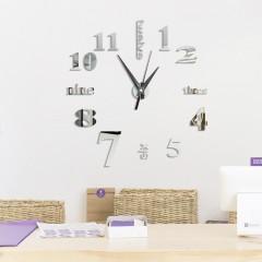 DIY Digit Acrylic Mirror Wall Clock Stickers Home  SILVER