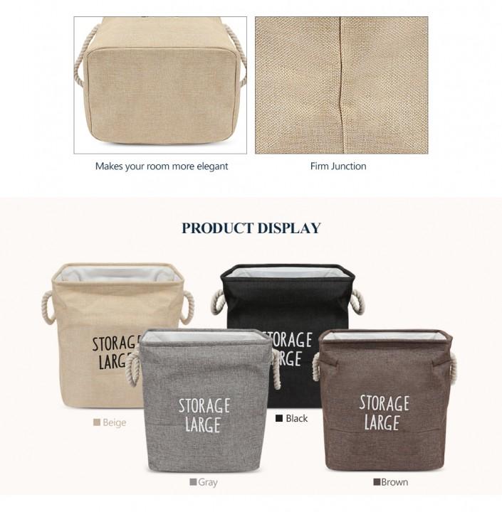 Large Size Cotton Foldable Laundry Hamper Toys Storage Basket