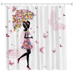 Umbrella Girl Polyester Shower Curtain Bathroom Hi COLORMIX W71 INCH * L79 INCH