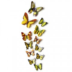 12pcs 3D Butterfly Wall Decor Stickers for Living  YELLOW