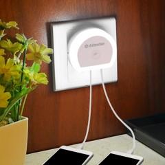 Alfawise HTV - 777 5V 1A Dual USB Ports Adapter Ch WHITE EU PLUG 3PCS