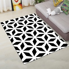 Home Mat Modern Simple Black and White Rectangle M BLACK WHITE 80X120CM