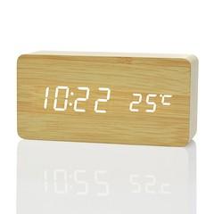 Creative Home Bedside Wooden Style Clock BEIGE WOOD