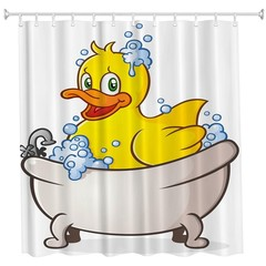 Small Yellow Duck in Bath Polyester Shower Curtain COLORMIX W71 INCH * L79 INCH