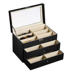 Three Layers 18 Grid Drawer Sunglasses Storage Box BLACK