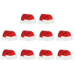 Christmas Santa Hat Wine Glass Decoration New Year Party Supplies 10PCS MULTI 10PCS