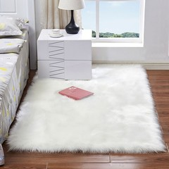 Australian Faux Wool Leather Sofa Carpet Mat Bedroom Long Blanket WHITE