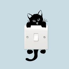 Fashion Cartoon Cute Kitten Light Switch Sticker For Bedroom Decoration BLACK