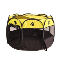 Pet Tent Portable Foldable Playpen Play Pen Dog Crate Delivery Room Puppy Exercise Kennel Cat Cage Water Resistant Indoor/outdoor Removable Mesh Shade Cover YELLOW M (91X91X58CM)