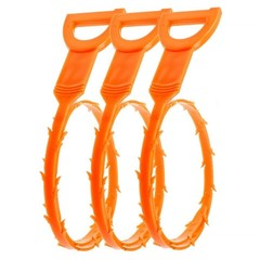 3 Pcs 19.6 Inch Drain Snake Hair Drain Clog Remover Cleaning Tool ORANGE