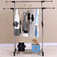 Double Pole Telescopic Folding Stainless Steel Clothes Drying Rack BLACK