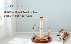 Docamor Multifunctional Teasing Toy For Cats Durable 360° Rotating Rod With Feather Wooden Balls Scratching Sisal Post CHAMPAGNE 25*23*30CM