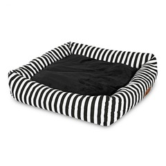 Soft Pet Square Cushion Nest Mat Teddy Puppy Bed House BLACK WHITE S