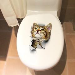 Lovely Cat PVC Toilet Wall Sticker MULTI-B