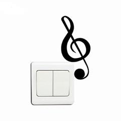 Cartoon Music Vinyl Switch Sticker Stores Decorate Windows to Glass Door Shop Decal BLACK 11.9 X 5.3 CM
