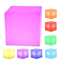 LED Cube Rechargeable Cordless Decorative Light Luminous Stool with 16 Colors Remote Control 20 x 20 x 20cm WHITE 20*20*20