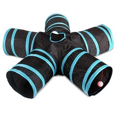 5 Way Foldable Cat Tunnel with Balls Collapsible Pet Tube Toy BLACK