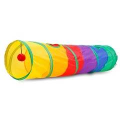 Foldable Rainbow Colored Cat Tunnel with Balls Collapsible Pet Tube Toy MULTI