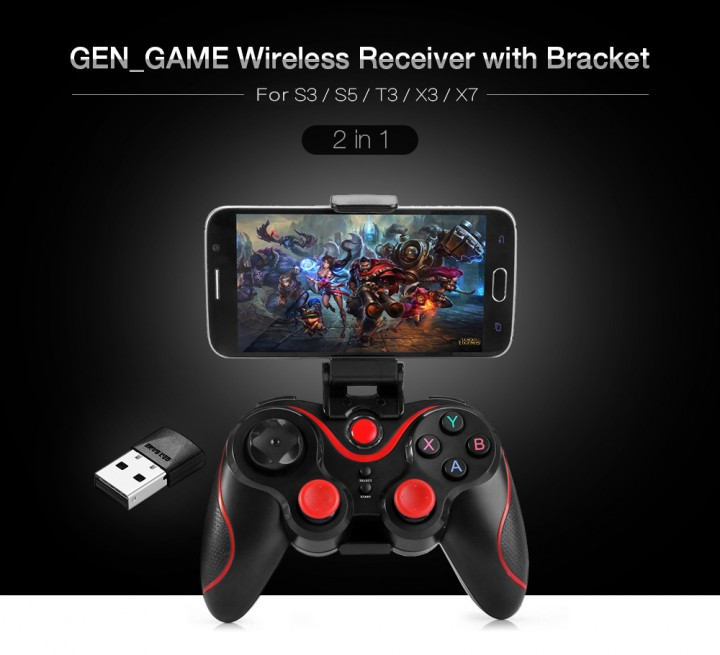 GEN_GAME Gamepad Bluetooth Game Controller Support Wireless Receiver with Adjustable Bracket Clip Set for T3 / S3 / S5