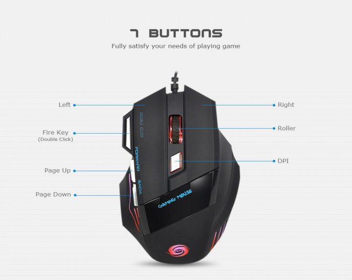 JWFY Professional USB Wired Gaming Mouse 7 Buttons Support 5500DPI Resolution