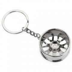 Wheel Hub Alloy Key Chain Hanging Pendant Keyring  SILVER