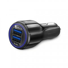 SpedCrd Quick Charge Dual USB QC2.0 Car Charger BLACK