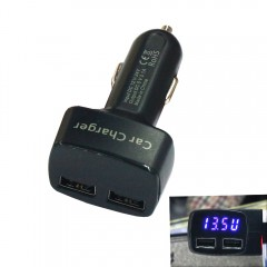 Dual USB DC12-24V 3.1A Car Charger Mobile Fast Cha BLACK