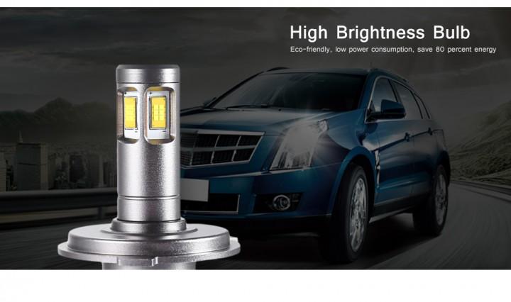 Pair of DC 12V / 24V 80W 9600LM V10 H4 Car LED Headlight 6000K Front Lamp