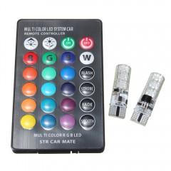 Pair of T10 5050 SMD 6LED RGB Remote Control Readi RGB