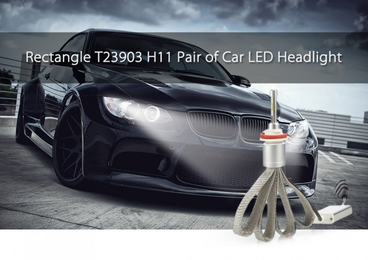 Rectangle T23903 H11 40W 4800LM Pair of Car LED Headlight 6000K Auto Front Lamp