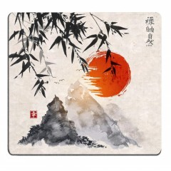 Japanese Bamboo Trees Sun and Mountains Mouse Pad MULTI