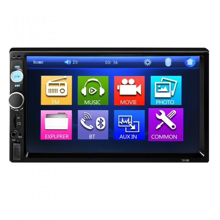 7010B 7 Inch Bluetooth V2.0 TFT Screen 12V Car Aud BLACK