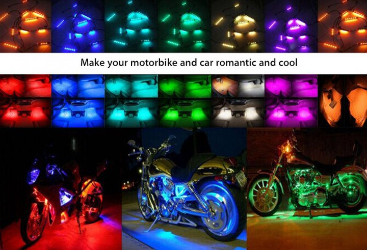 10pcs Multi-color Remote Control Motorcycle LED Atmosphere Lamp Flexible Strip Glow Light