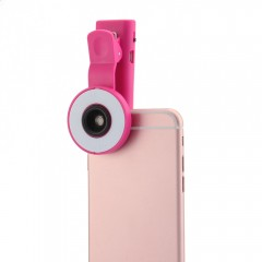 Clip-on Phone Selfie Wide Angle Lens 8 LED Speedli PINK