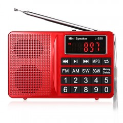 L - 258 FM / AM  / SW Multiband Radio Speaker MP3  RED