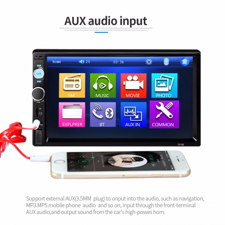 7010B 7 Inch Bluetooth V2.0 TFT Screen 12V Car Audio Stereo MP5 Player Auto Video with Rearview Camera