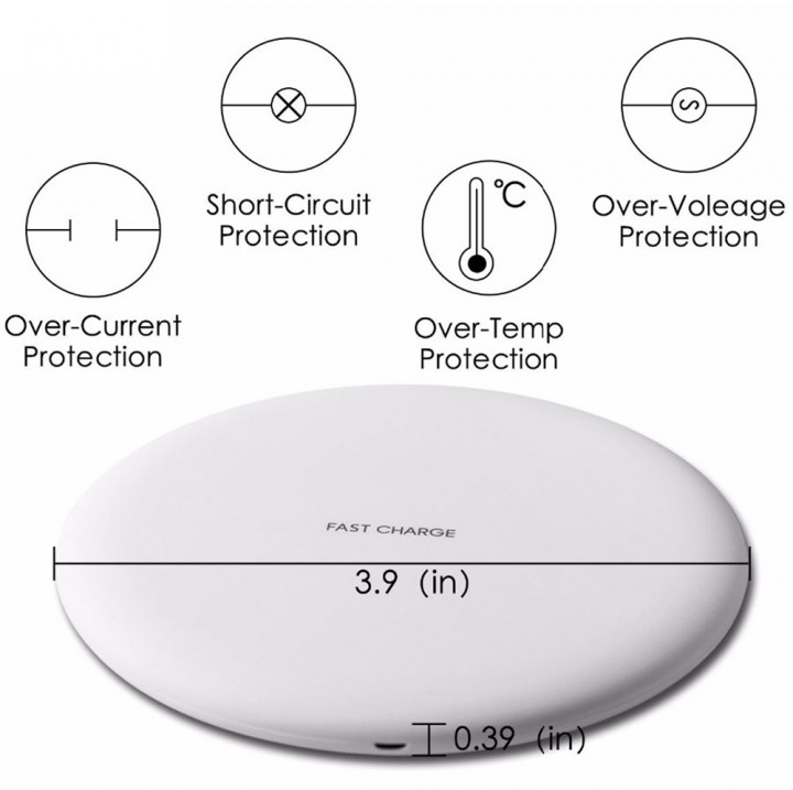 Fast Qi Wireless Charger Ultra Slim Wireless Charging Pad for iPhone X iPhone 8/8 Plus