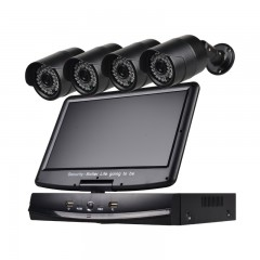 4 Channel Security Camera System 10.1 inch LCD 108 BLACK UK