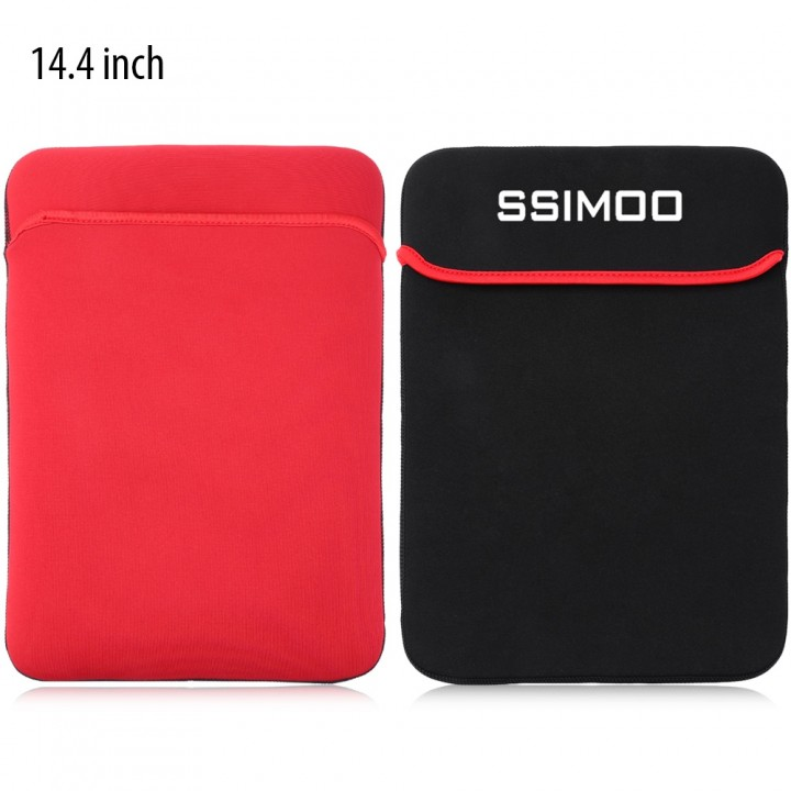 SSIMOO Shockproof Double-faced Foam Fabric Laptop  BLACK AND RED