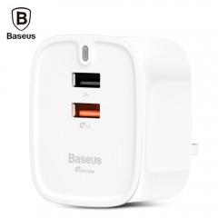 Baseus Funzi QC 3.0 Dual USB Intelligent Wall Trav WHITE