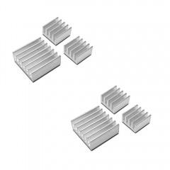 6pcs Aluminum Heatsink Cooler Cooling Kit for Rasp SILVER