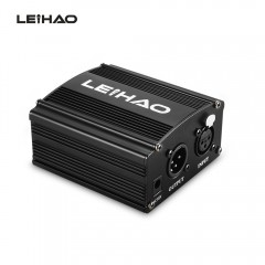 LEIHAO 48V Phantom Power Supply for Condenser Micr BLACK EU PLUG
