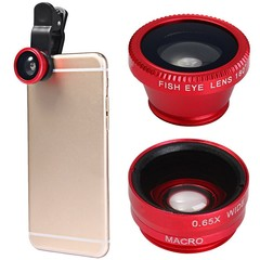Minismile 3-in-1 Fisheye and Wide Angle and Macro  RED