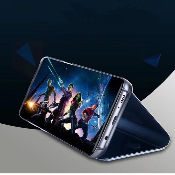 f0835a3f79 Case Cover for Samsung Galaxy S6 Edge Plus with Stand Plating Mirror Flip  Auto Sleep Wake