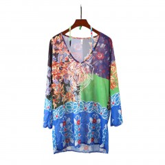 Women Swimwear Bikini Beach Wear Chiffon Dress V-neck Cover Up Kaftan Dress