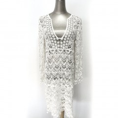 Sexy Women Beach Cover up Dress Swimsuits Long-Sleeved Lace Beach Tunic