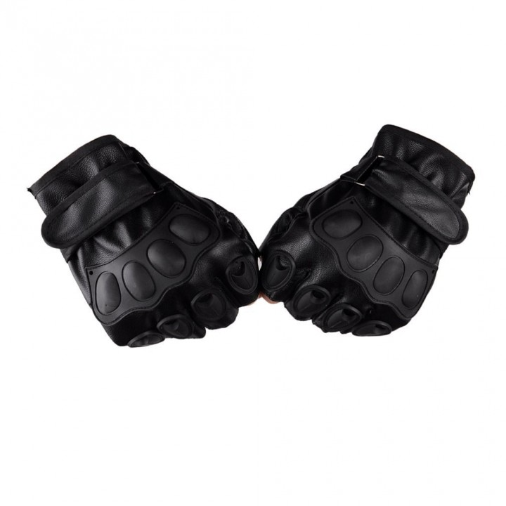 Half Finger Gloves PU Leather Men Gloves For Tactical Military Sports Cycling as picture